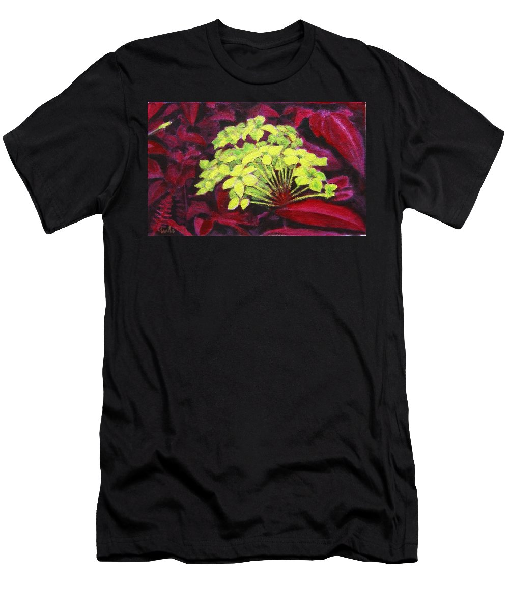 Foliage Men's T-Shirt (Athletic Fit) featuring the painting Ixora - Jungle Flame by Usha Shantharam