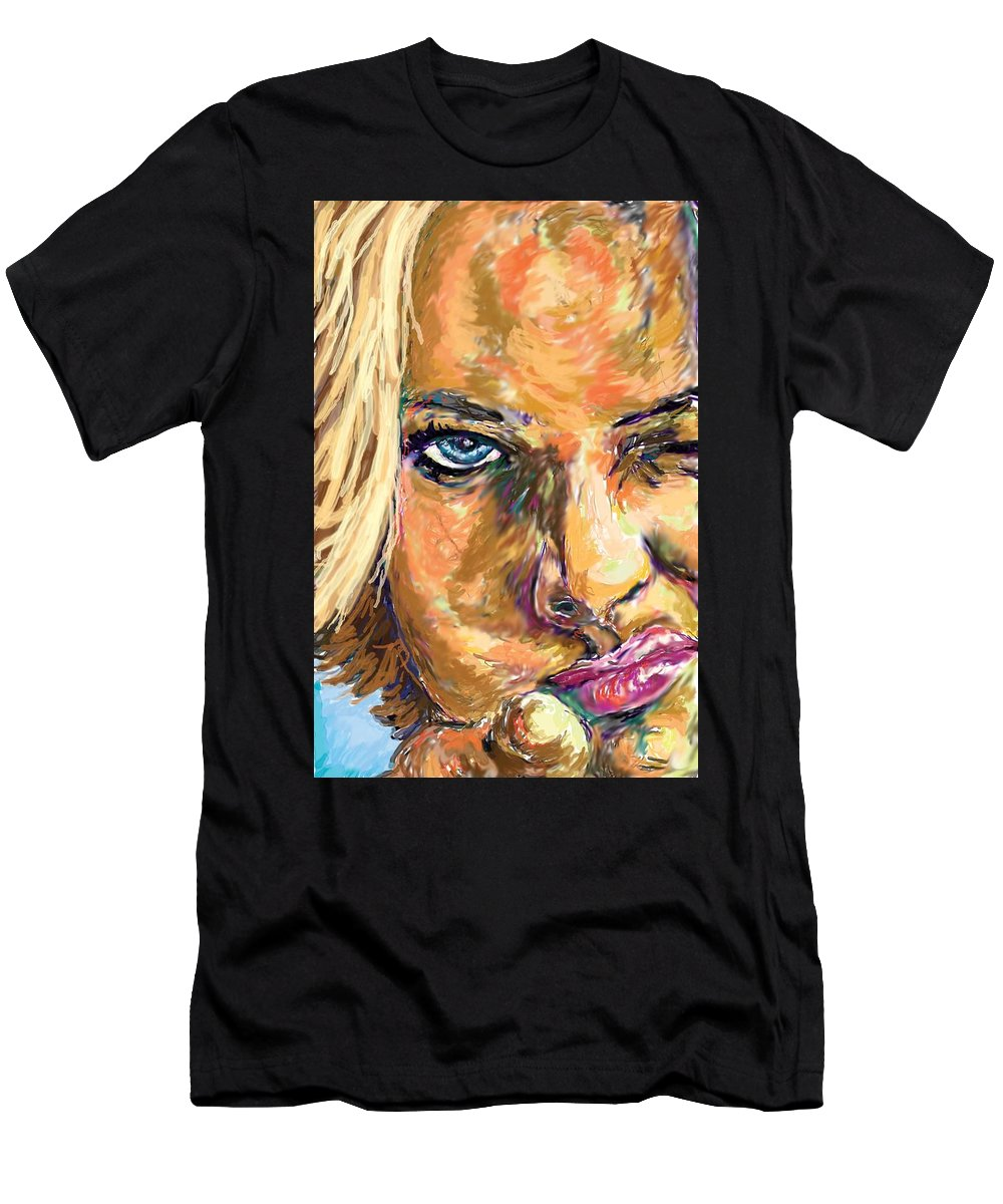 Jaime Pressly Men's T-Shirt (Athletic Fit) featuring the painting Jaime Pressly by Travis Day