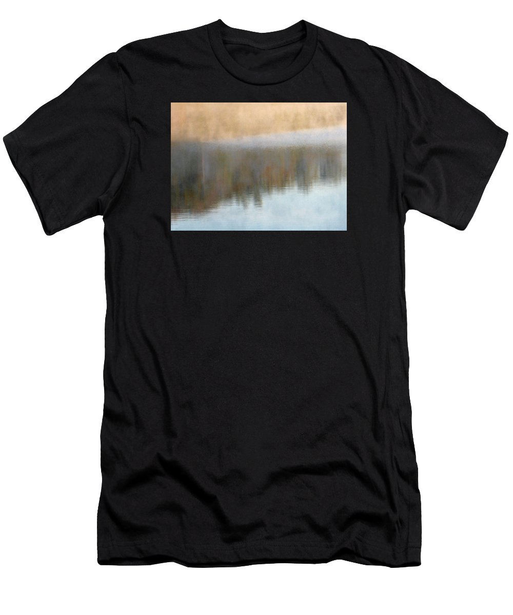 Water Men's T-Shirt (Athletic Fit) featuring the photograph Deep Mist And Reflections On Jamaica Pond by Giora Hadar