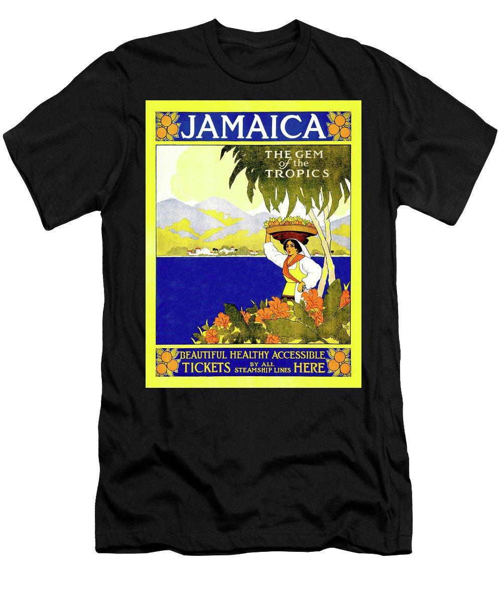 Jamaica Men's T-Shirt (Athletic Fit) featuring the digital art Jamaica, The Gem Of Tropics by Long Shot