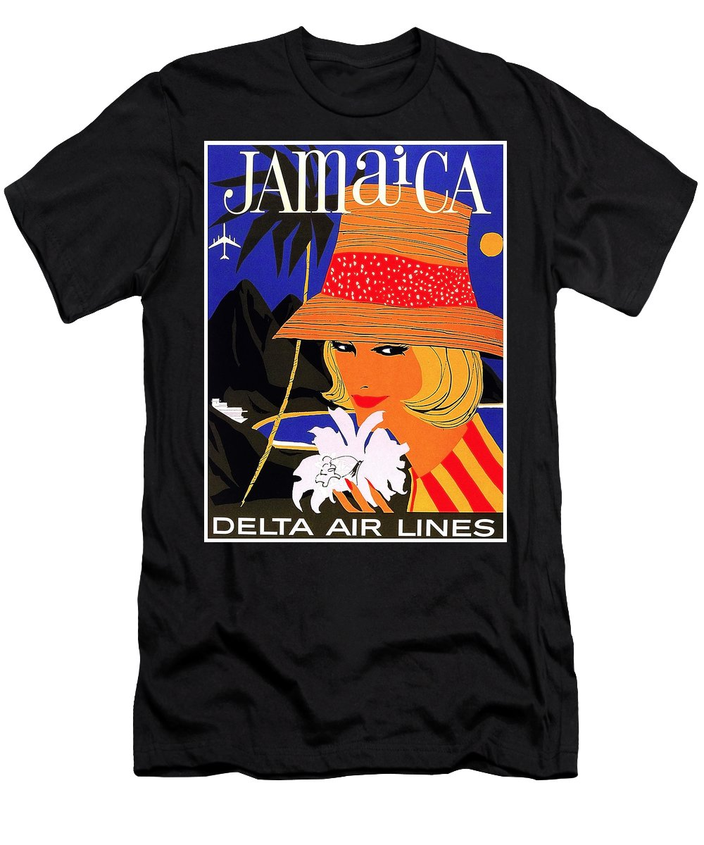 Jamaica Men's T-Shirt (Athletic Fit) featuring the painting Jamaica, Woman With Orange Hat by Long Shot