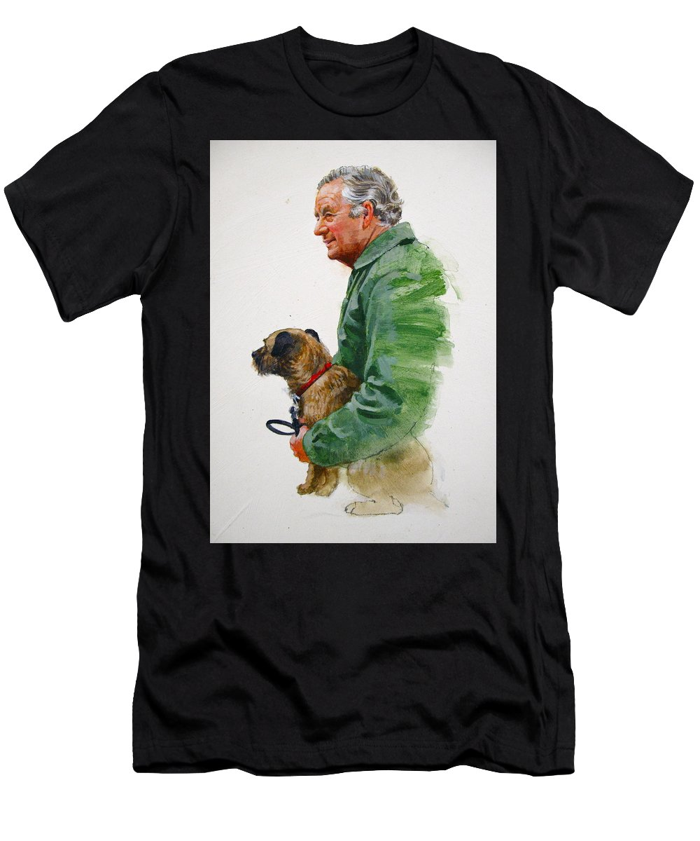 Portrait Men's T-Shirt (Athletic Fit) featuring the painting James Herriot And Bodie by Cliff Spohn