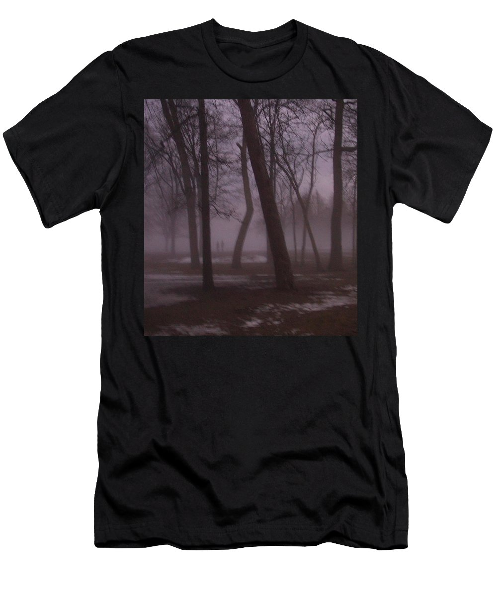January Men's T-Shirt (Athletic Fit) featuring the photograph January Fog 1 by Anita Burgermeister