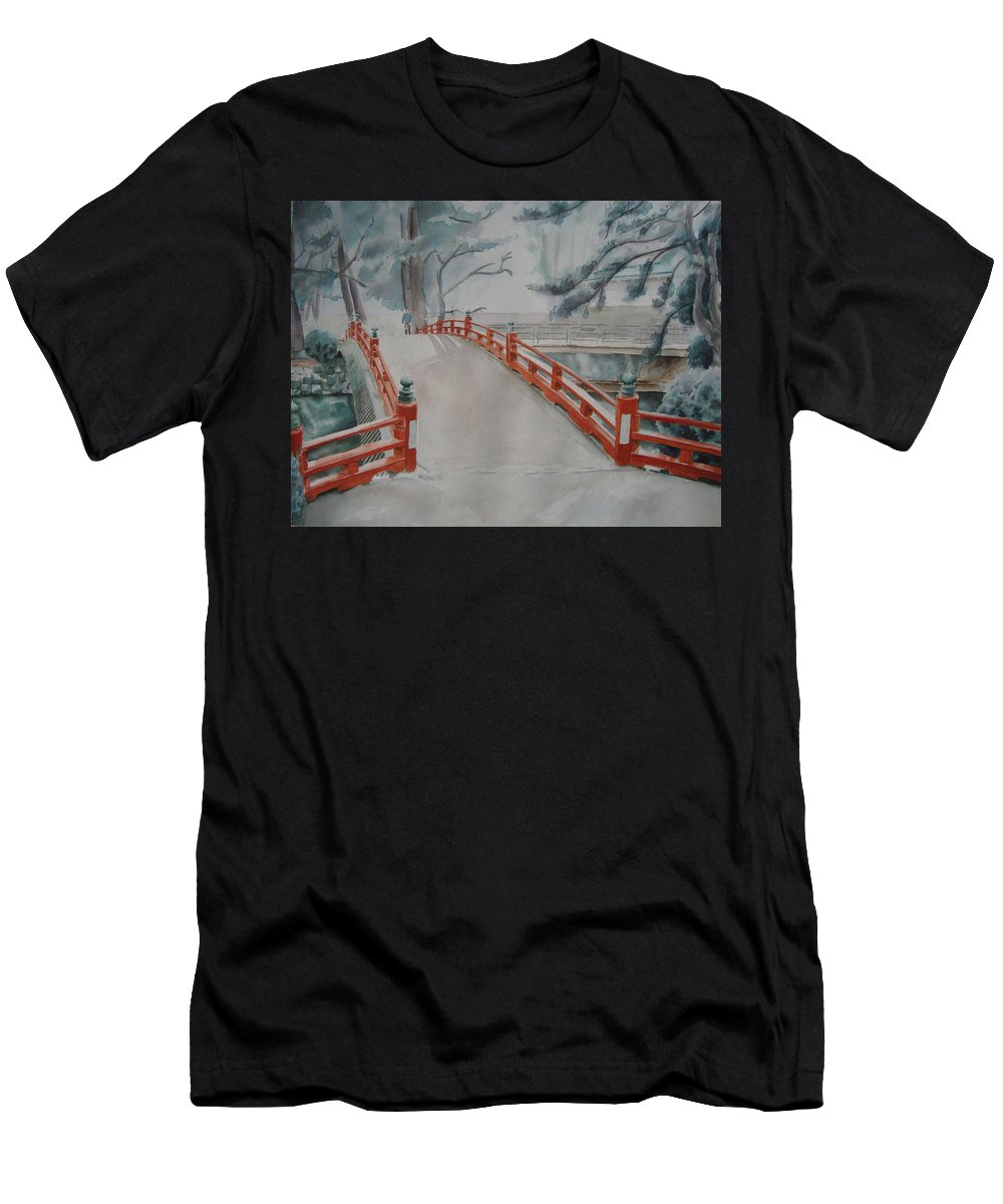 Japanese Men's T-Shirt (Athletic Fit) featuring the painting Japanese Bridge by Zoe Nicholson