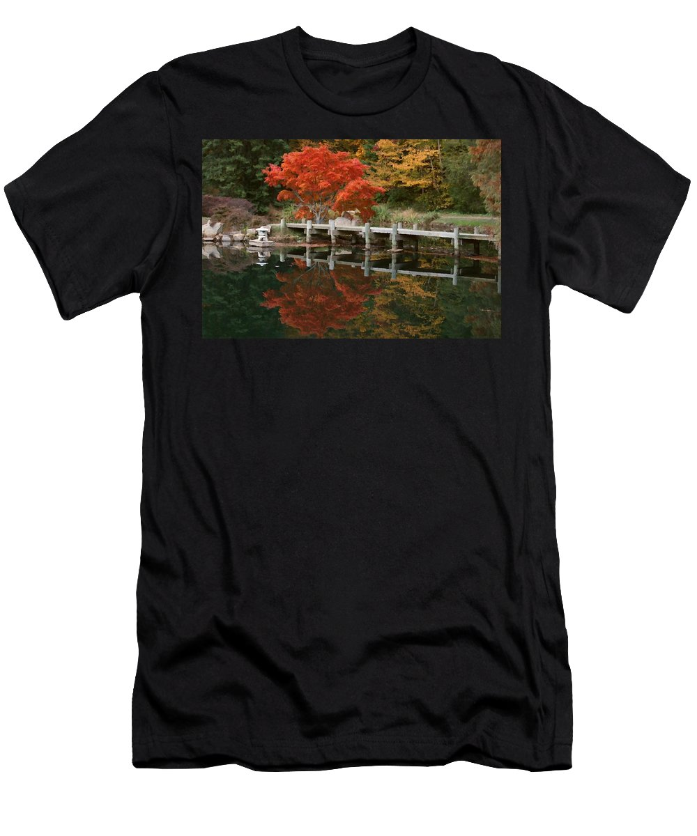 Maymont Men's T-Shirt (Athletic Fit) featuring the photograph Japanese Reflection by Tina Meador