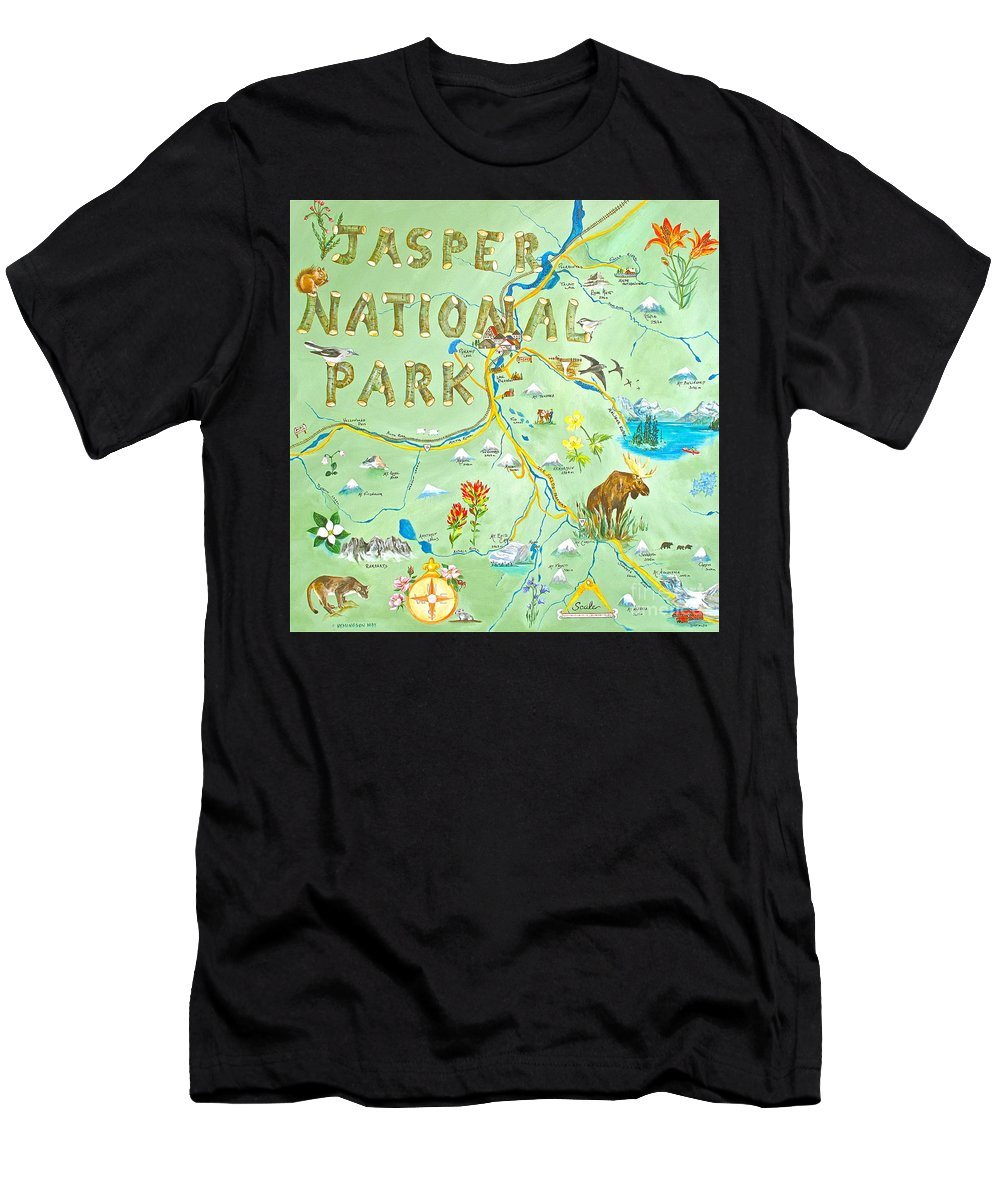 Jasper Men's T-Shirt (Athletic Fit) featuring the painting Jasper National Park by Virginia Ann Hemingson