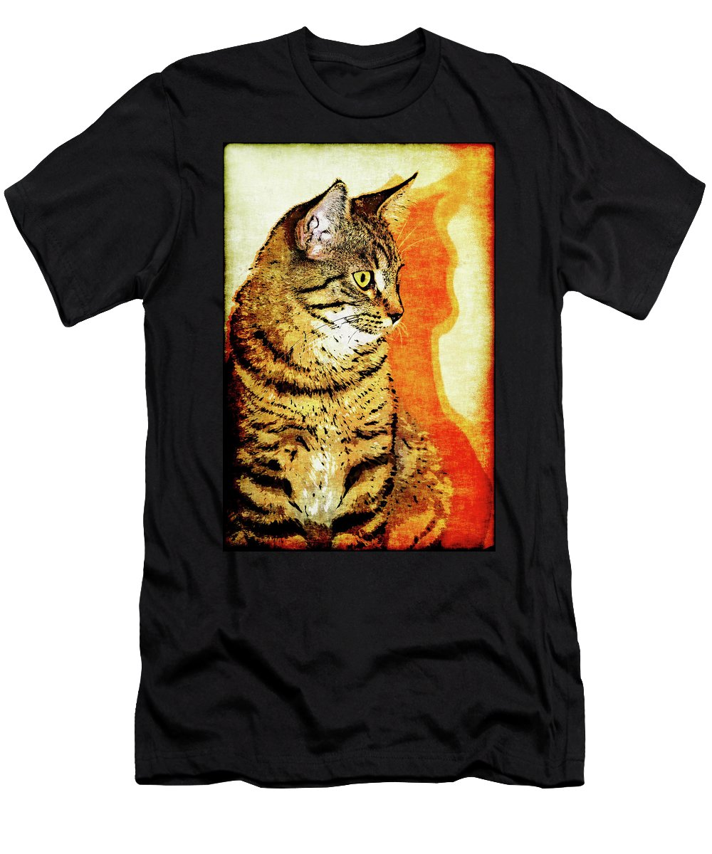 Cat Men's T-Shirt (Athletic Fit) featuring the photograph Jax And His Shadow by Vicki Podesta