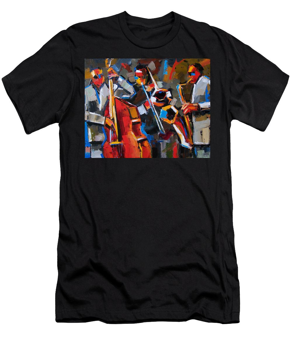Jazz Men's T-Shirt (Athletic Fit) featuring the painting Jazz Angles by Debra Hurd