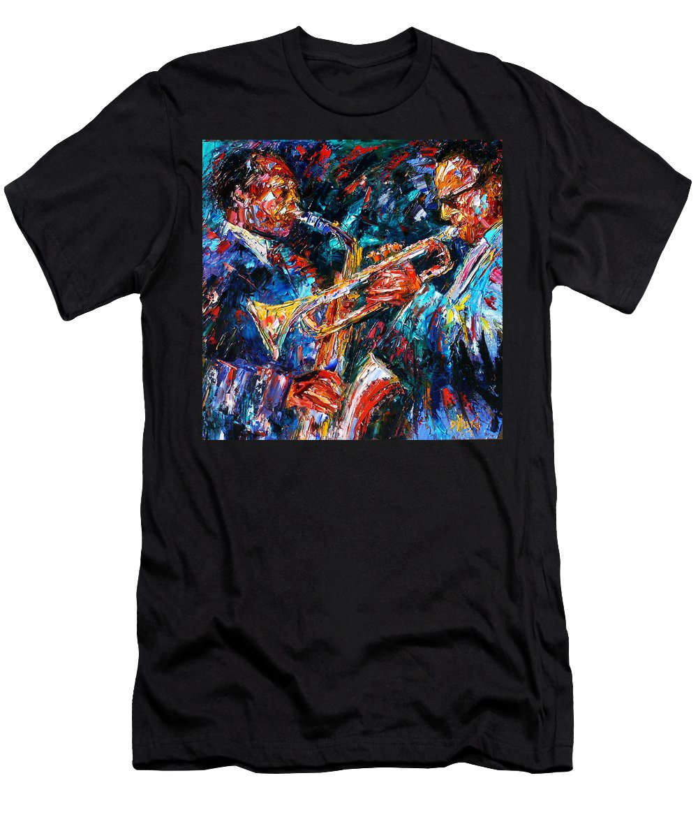 Jazz Men's T-Shirt (Athletic Fit) featuring the painting Jazz Brothers by Debra Hurd