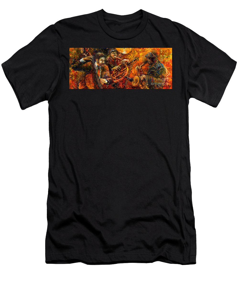 Jazz Men's T-Shirt (Athletic Fit) featuring the painting Jazz Gold Jazz by Yuriy Shevchuk