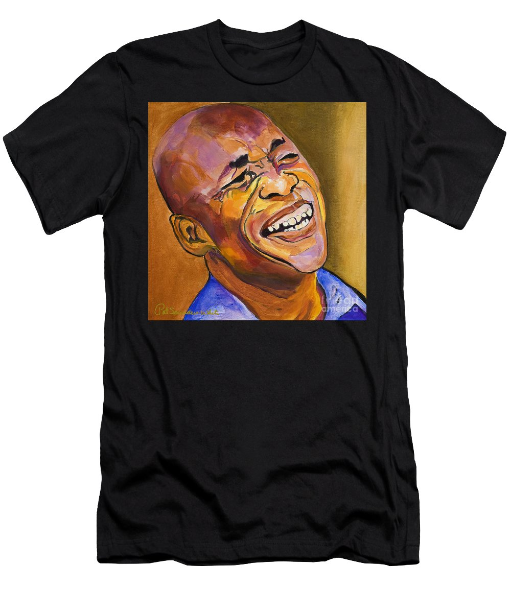 Portraits Men's T-Shirt (Athletic Fit) featuring the painting Jazz Man by Pat Saunders-White