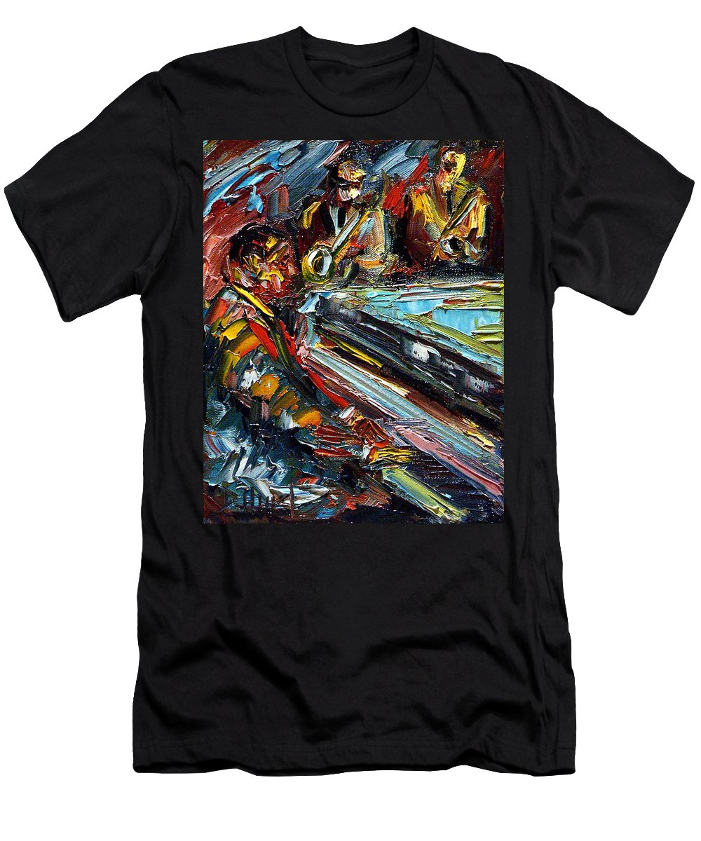 Jazz Men's T-Shirt (Athletic Fit) featuring the painting Jazz Tunes by Debra Hurd