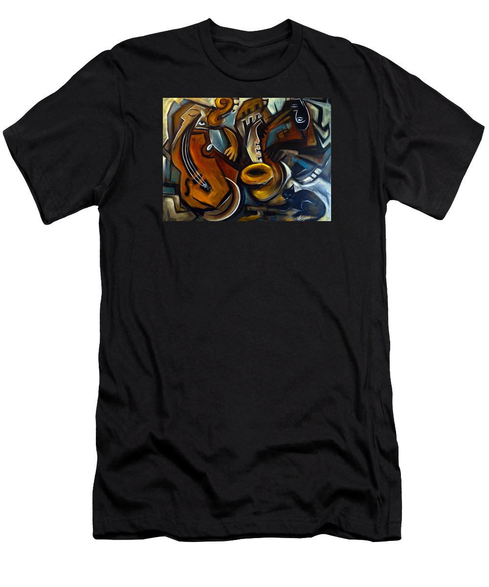 Jazz Men's T-Shirt (Athletic Fit) featuring the painting Black Cat Jazzz by Valerie Vescovi