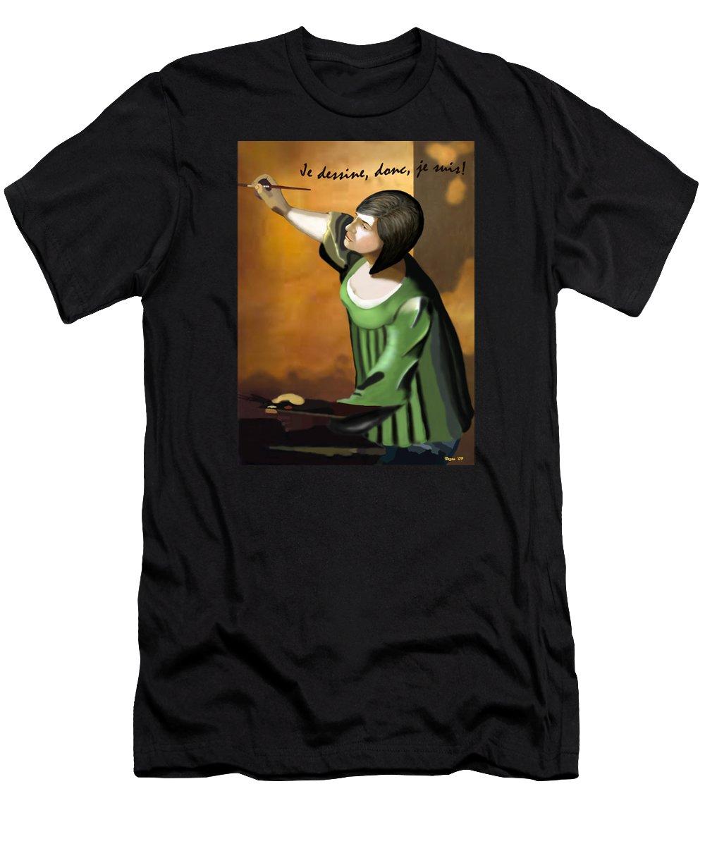 Illustration Men's T-Shirt (Athletic Fit) featuring the digital art Je Dessine Donc Je Suis by Lois Boyce