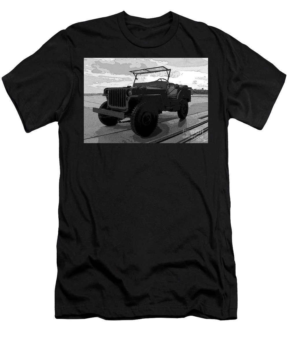 Art Men's T-Shirt (Athletic Fit) featuring the painting Jeep by David Lee Thompson