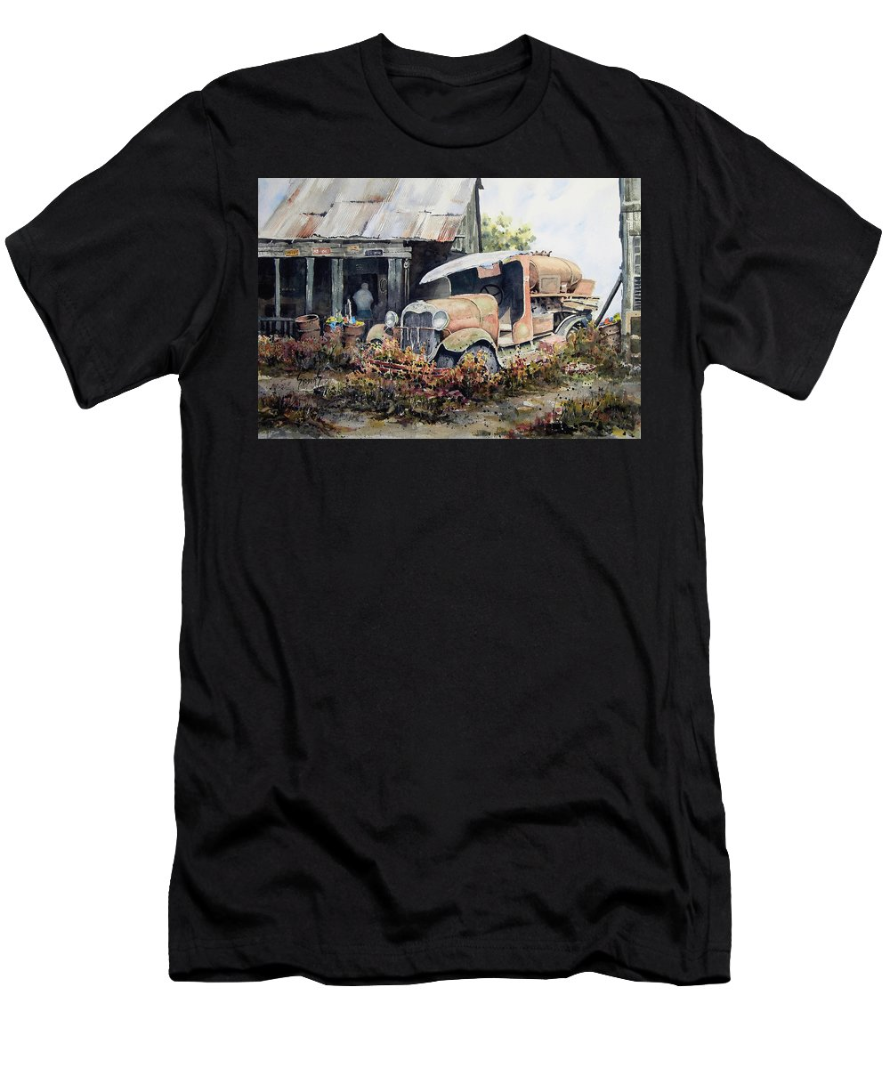 Truck Men's T-Shirt (Athletic Fit) featuring the painting Jeromes Tank Truck by Sam Sidders