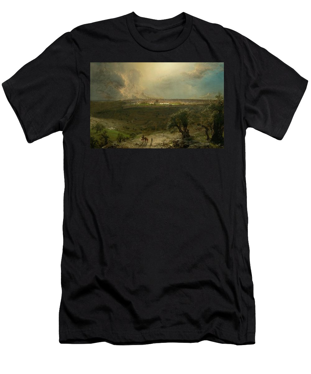 Frederic Edwin Church - Jerusalem View From The Mount Of Olives Men's T-Shirt (Athletic Fit) featuring the painting Jerusalem View From The Mount Of Oliv by MotionAge Designs