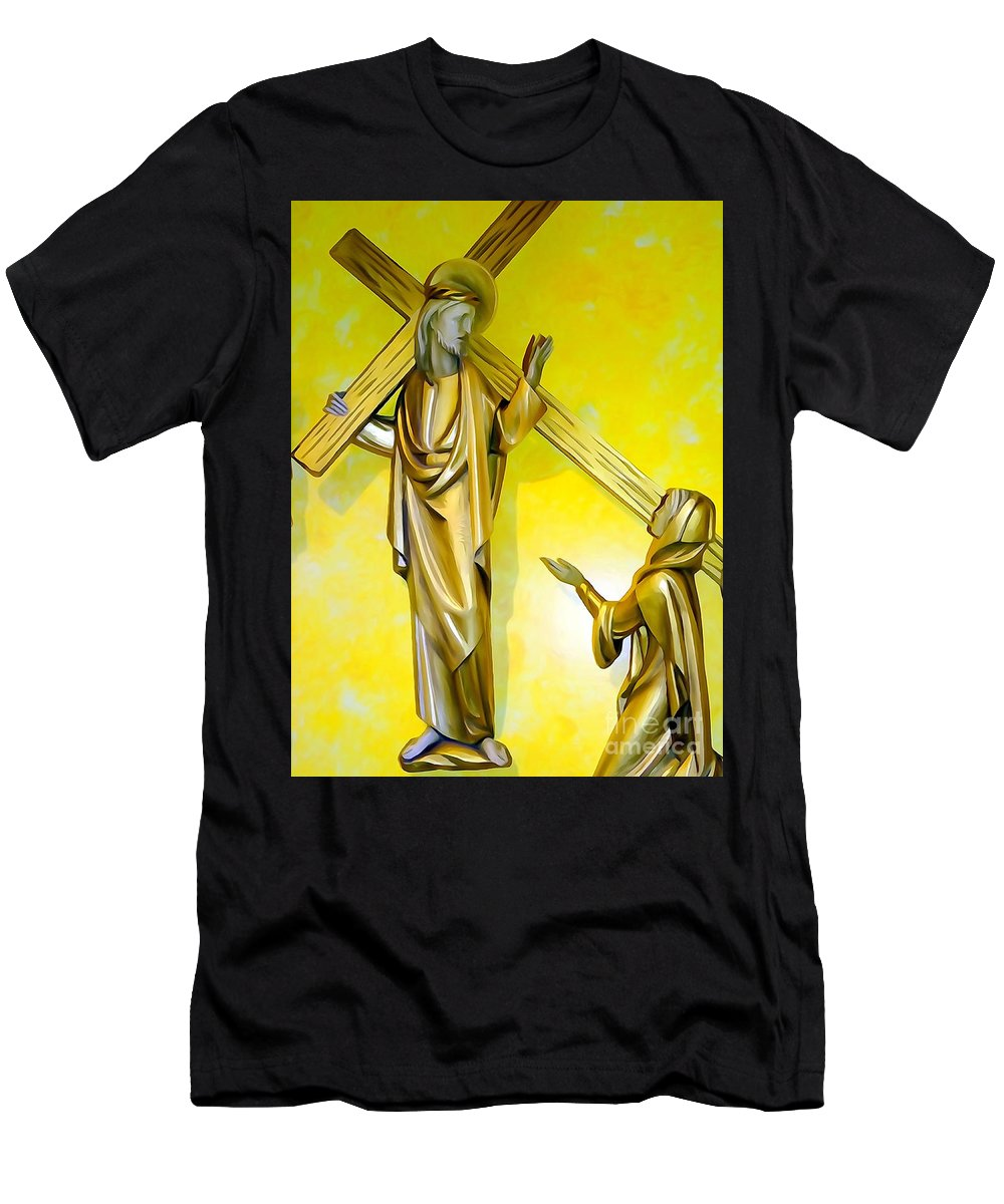 Digital Men's T-Shirt (Athletic Fit) featuring the photograph Jesus Carries The Cross by Ed Weidman