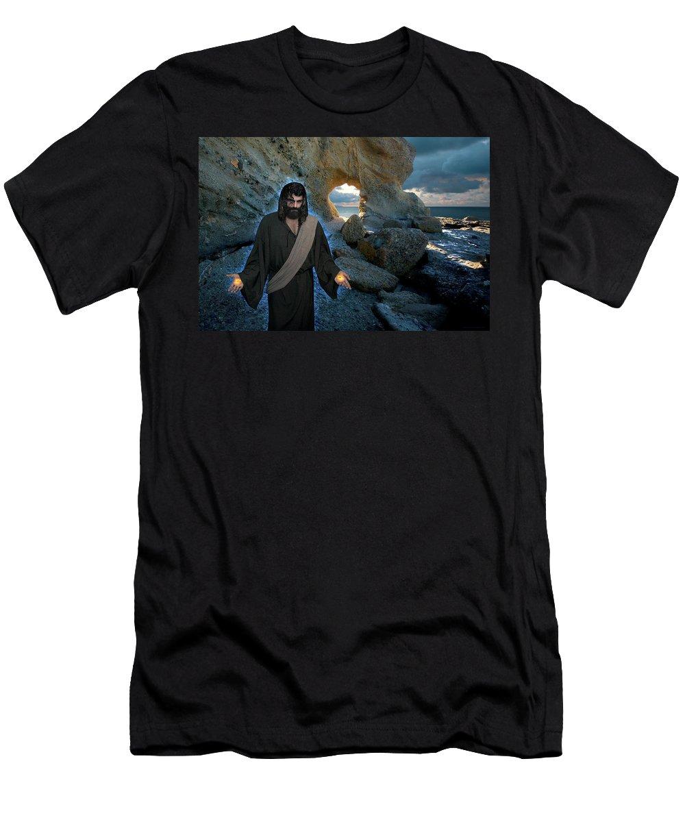 Alex-acropolis-calderon Men's T-Shirt (Athletic Fit) featuring the photograph Jesus Christ- And Surely I Am With You Always by Acropolis De Versailles