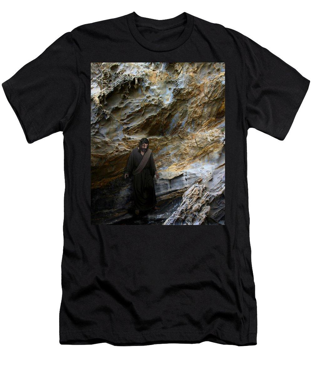 Alex-acropolis-calderon Men's T-Shirt (Athletic Fit) featuring the photograph Jesus Christ- You Are My Hiding Place And My Shield by Acropolis De Versailles