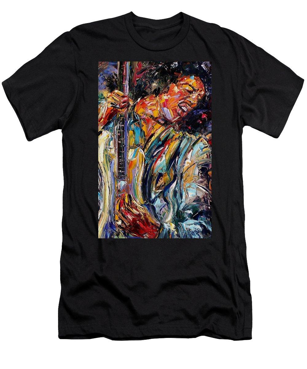 Jimi Hendrix Painting Men's T-Shirt (Athletic Fit) featuring the painting Jimi Hendrix by Debra Hurd