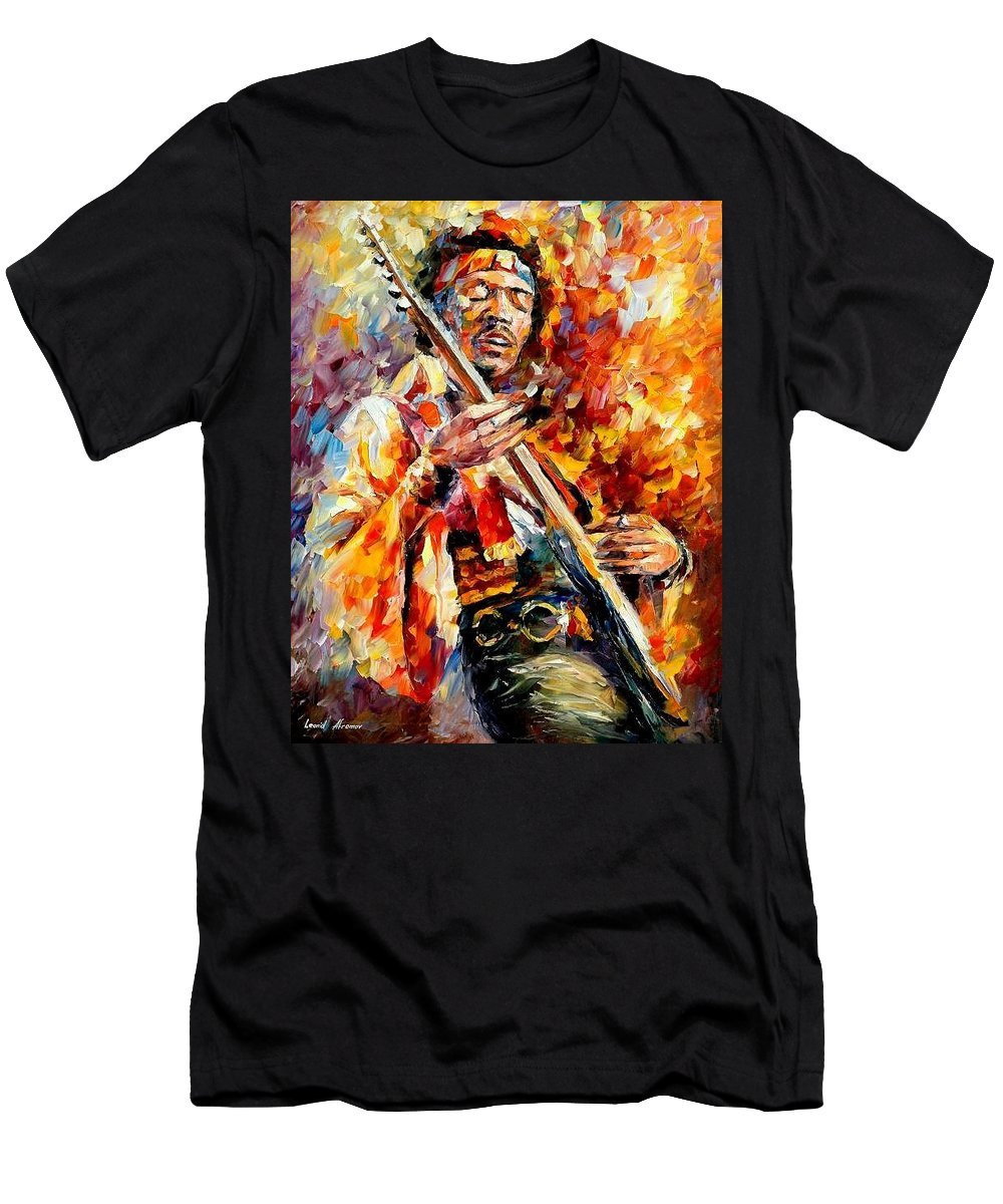 Music Men's T-Shirt (Athletic Fit) featuring the painting Jimi Hendrix by Leonid Afremov