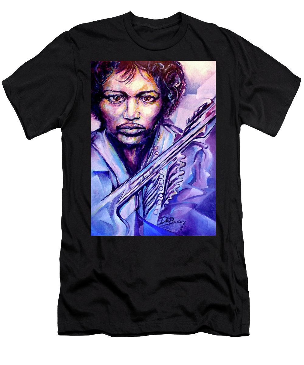 Men's T-Shirt (Athletic Fit) featuring the painting Jimi by Lloyd DeBerry