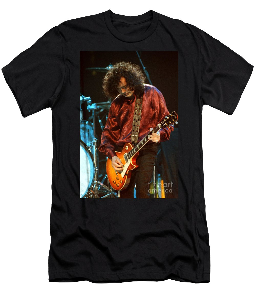 Robert Plant Men's T-Shirt (Athletic Fit) featuring the photograph Jimmy Page-0021 by Timothy Bischoff