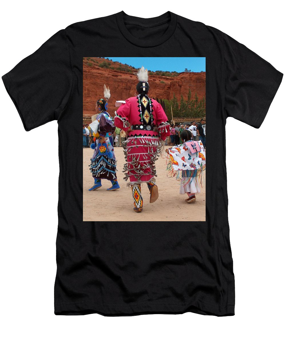 Pow-wow Men's T-Shirt (Athletic Fit) featuring the photograph Jingle Dress And Fancy Shawl Dancers by Tim McCarthy