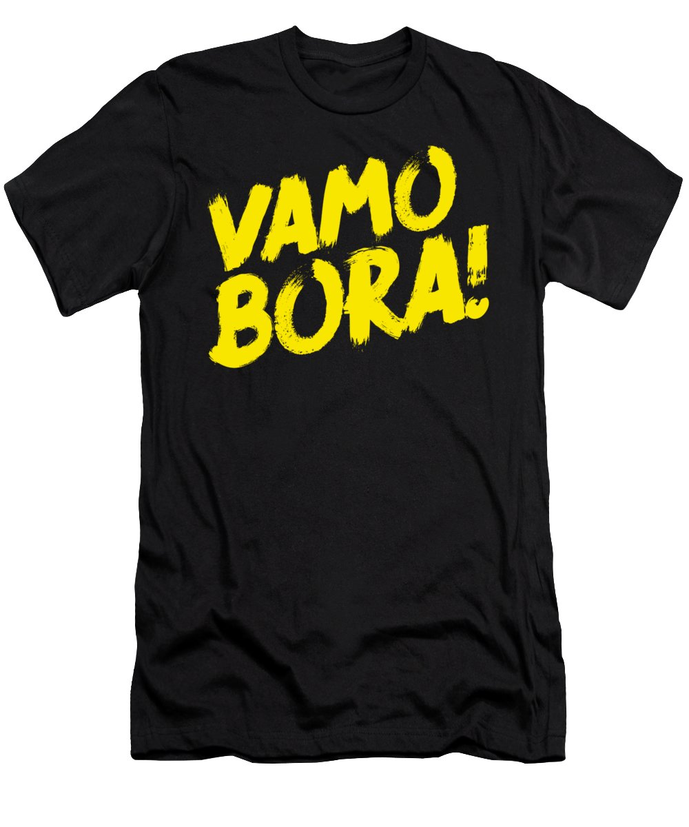 Bjj Men's T-Shirt (Athletic Fit) featuring the digital art Jiu Jitsu Design Vamo Bora Yellow Light Martial Arts by J P