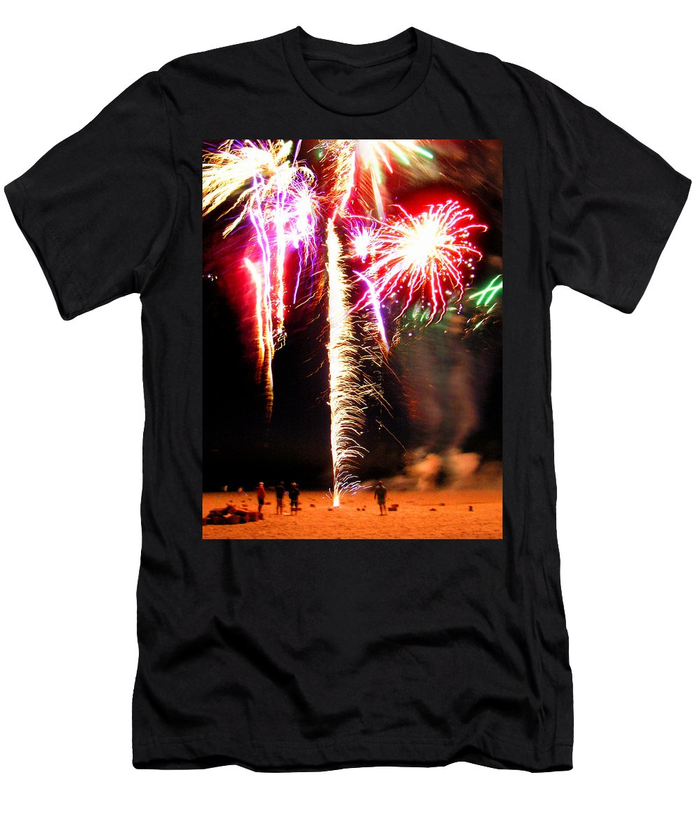 Joe Men's T-Shirt (Athletic Fit) featuring the photograph Joe's Fireworks Party 1 by Charles Harden
