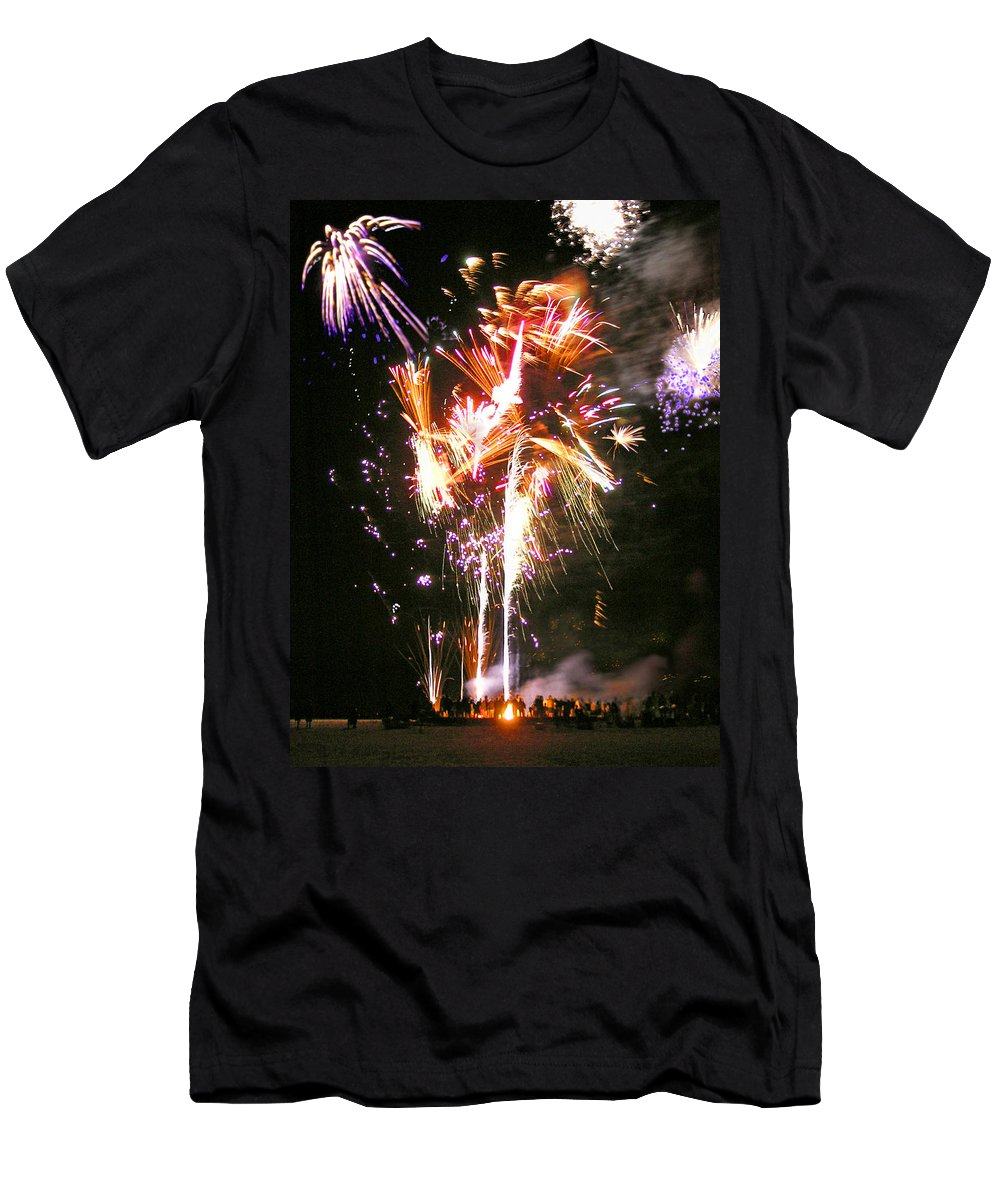Joe Men's T-Shirt (Athletic Fit) featuring the photograph Joe's Fireworks Party 2 by Charles Harden