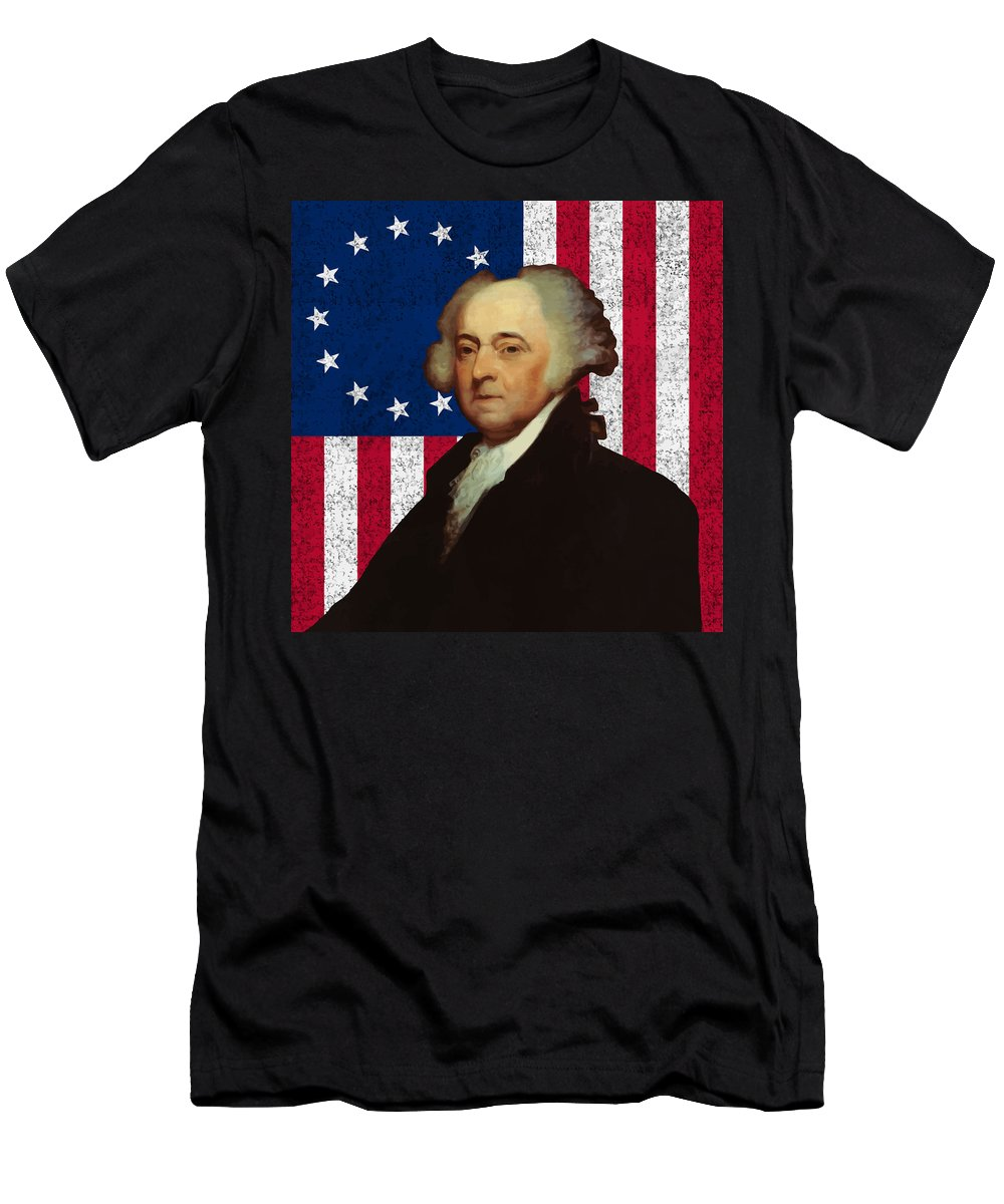John Adams Men's T-Shirt (Athletic Fit) featuring the painting John Adams And The American Flag by War Is Hell Store