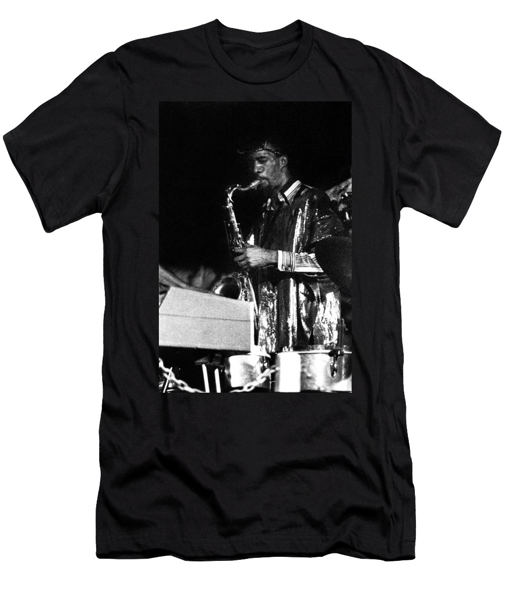 Sun Ra Arkestra At The Red Garter 1970 Nyc Men's T-Shirt (Athletic Fit) featuring the photograph John Gilmore by Lee Santa
