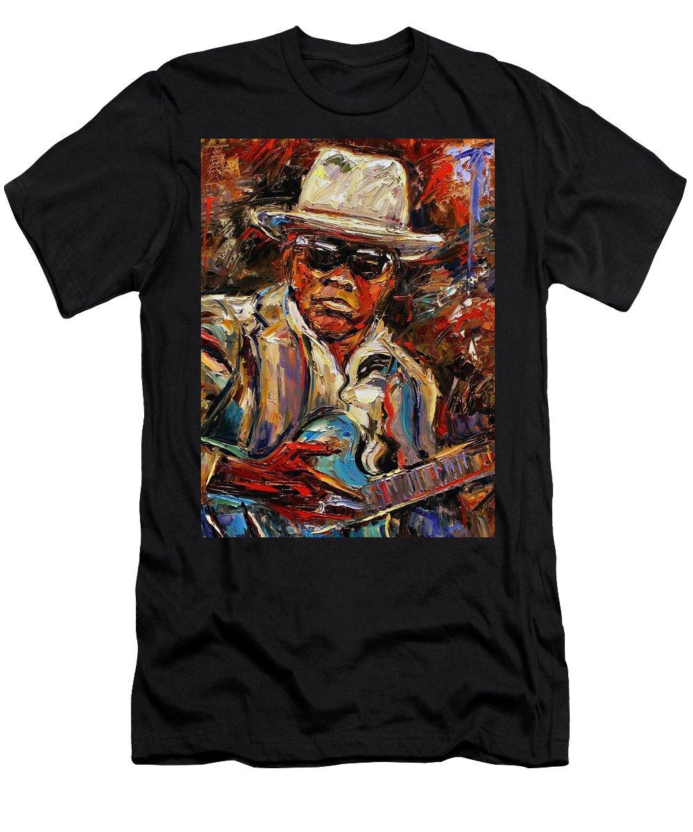 Blues Men's T-Shirt (Athletic Fit) featuring the painting John Lee Hooker by Debra Hurd