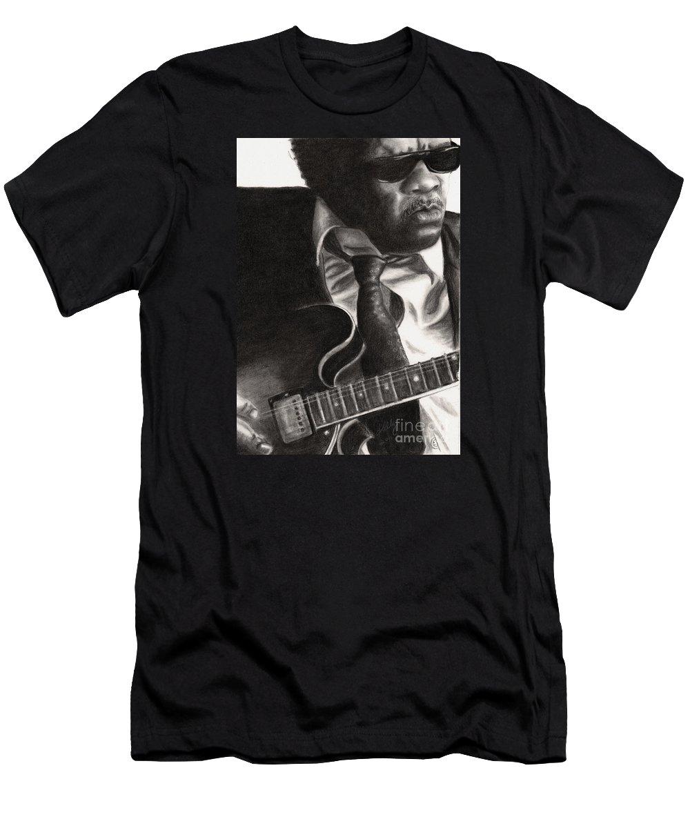 John Lee Hooker Portrait Men's T-Shirt (Athletic Fit) featuring the drawing John Lee Hooker by Kathleen Kelly Thompson