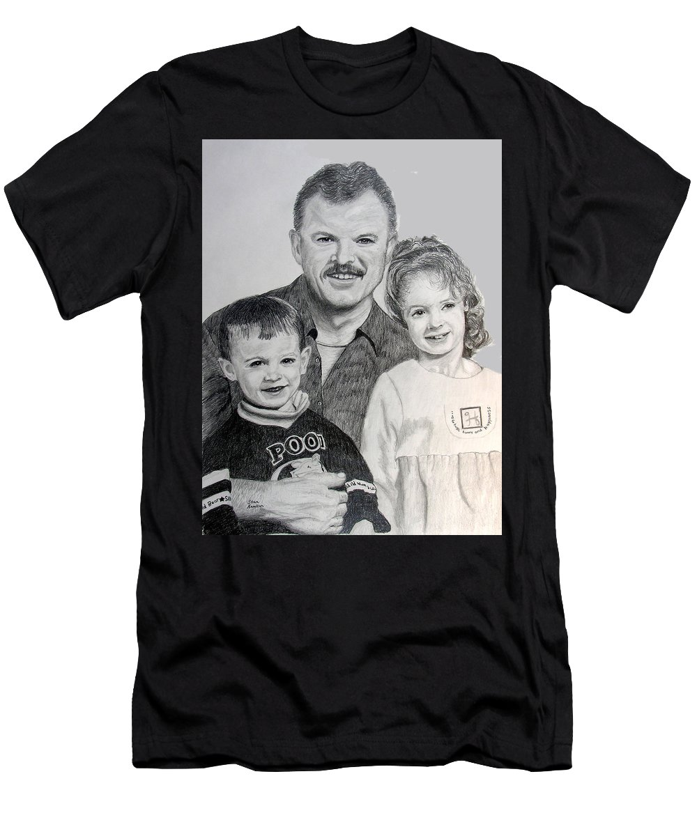 Portrait Men's T-Shirt (Athletic Fit) featuring the drawing John Megan And Joey by Stan Hamilton