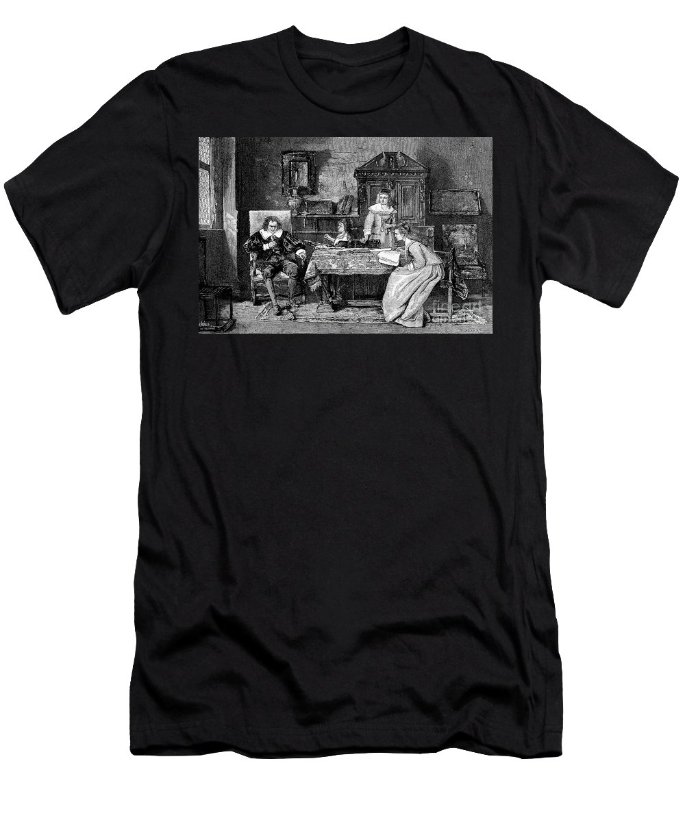 Historic Men's T-Shirt (Athletic Fit) featuring the photograph John Milton Dictating Paradise Lost by Wellcome Images