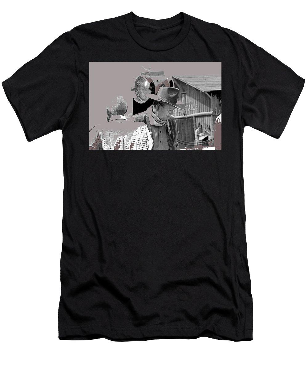 John Wayne And Director Howard Hawks Alienated Rio Lobo Old Tucson Arizona 1970-2016 Men's T-Shirt (Athletic Fit) featuring the photograph John Wayne And Director Howard Hawks Alienated Rio Lobo Old Tucson Arizona 1970-2016 by David Lee Guss