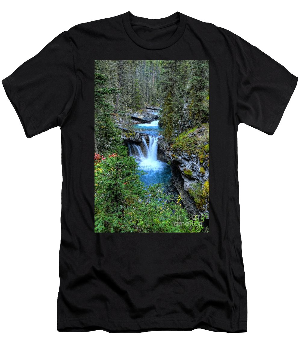 Animals Men's T-Shirt (Athletic Fit) featuring the photograph Johnston Canyon Falls Hike Lower Falls by Wayne Moran