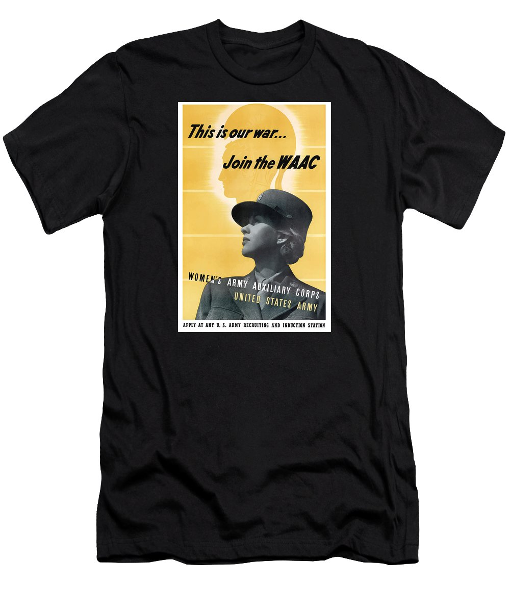 Waac Men's T-Shirt (Athletic Fit) featuring the mixed media Join The Waac - Women's Army Auxiliary Corps by War Is Hell Store