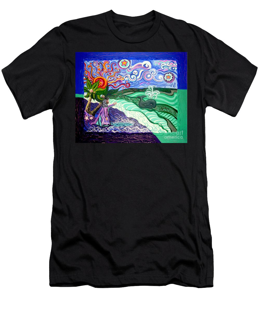 Jonah And The Whale Men's T-Shirt (Athletic Fit) featuring the painting Jonah And The Whale by Genevieve Esson