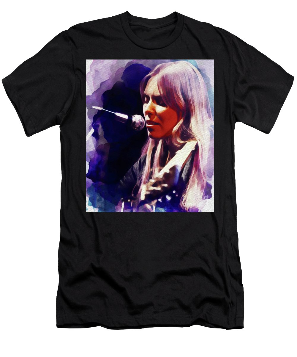 Joni Men's T-Shirt (Athletic Fit) featuring the painting Joni Mitchell, Music Legend by John Springfield