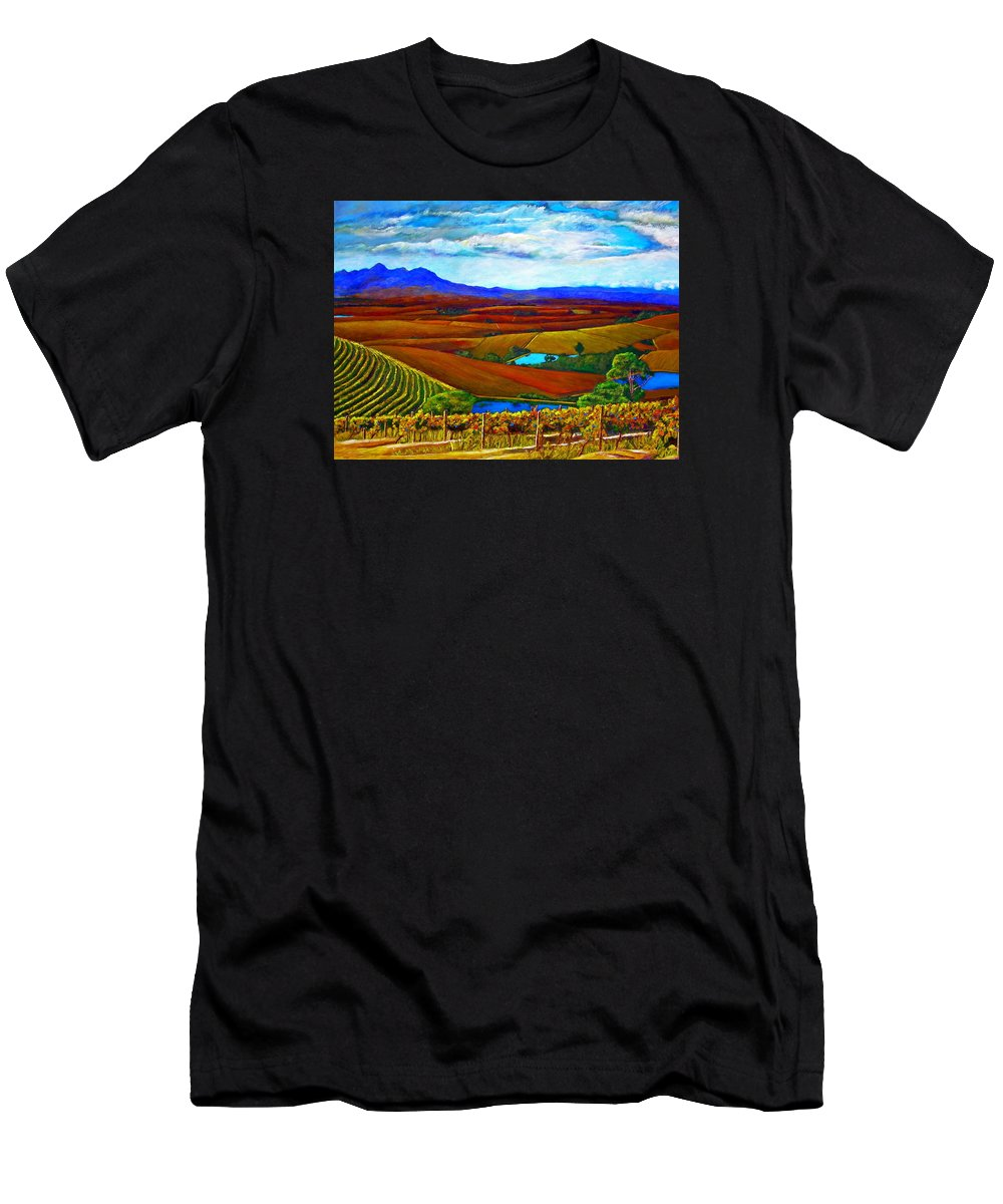 Vineyard Men's T-Shirt (Athletic Fit) featuring the painting Jordan Vineyard by Michael Durst