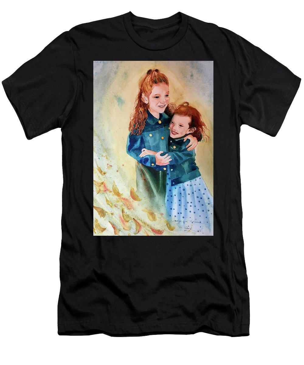 Painting T-Shirt featuring the painting Jordyn and Kayden by Karen Stark