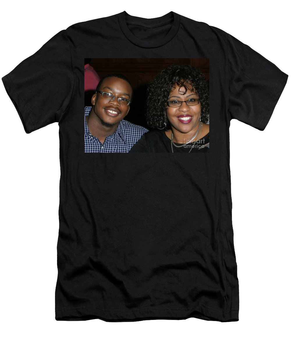 Men's T-Shirt (Athletic Fit) featuring the mixed media Josh And His Mom by Angela L Walker