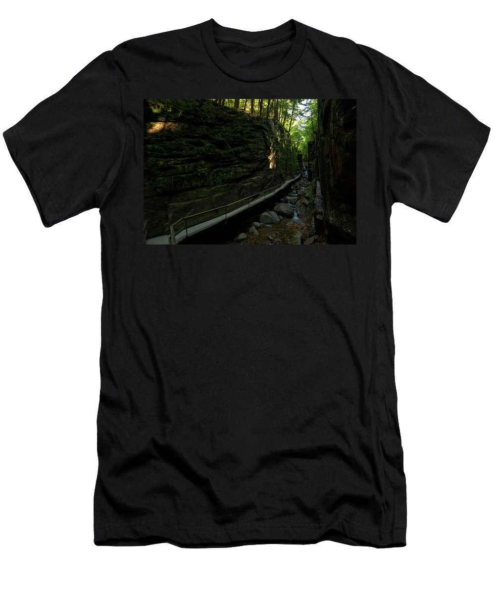 flume Gorge Men's T-Shirt (Athletic Fit) featuring the photograph Journey Through The Gorge by Paul Mangold
