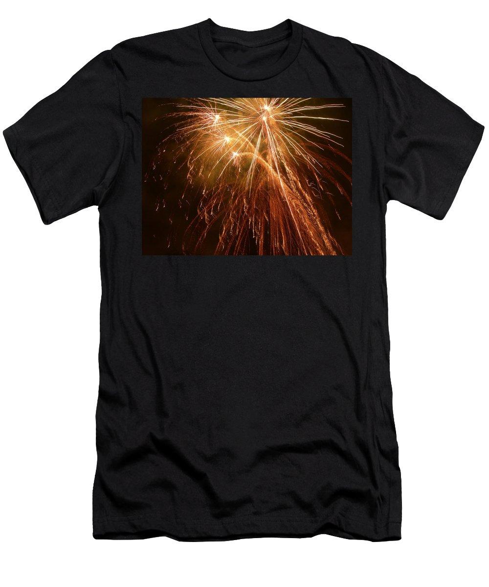 Fireworks Men's T-Shirt (Athletic Fit) featuring the photograph Joyous Angels by Lorraine Baum
