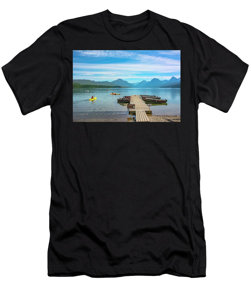 Montana T-Shirt featuring the photograph July 4th on Lake McDonald by Bryan Spellman