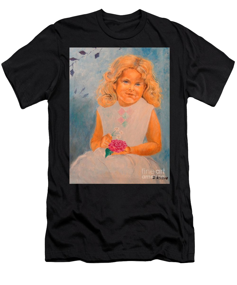 Portrait Men's T-Shirt (Athletic Fit) featuring the painting July - 50x69 Cm by Dagmar Helbig